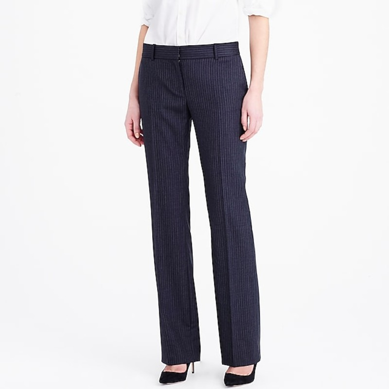 "J. Crew Petite 1035 trouser in pinstripe Super 120s wool size 2P in grey<br /> <br /> ""These sleek pants are designed with a tailored, straight leg that's both polished and flattering. This pair is made from our four-season Super 120s wool—120 is the measure of the fiber: the higher the number, the finer the fiber, and 120 is one of the finest—so it has a silky-smooth finish and a refined drape.<br /> <br />     Super 120s merino wool.<br />     Slant pockets, back welt pockets.<br />     Unlined.<br />     Dry clean.<br />     Import.<br /> <br /> City fit—our lowest rise.<br /> Fitted through hip, with a straight trouser leg.<br /> Sits just above hip.""<br /> <br /> Photo and description credits: jcrew.com"
