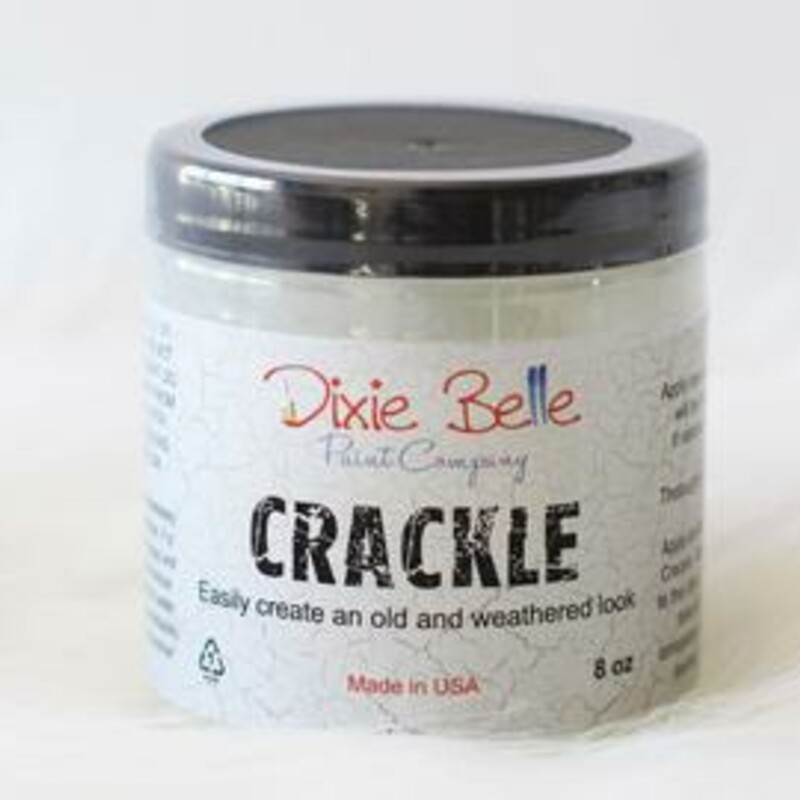 Crackle easily creates that aged; cracked effect on your project.<br /> <br /> Apply one coat of Dixie Belle Paint in the color of your choice.<br /> <br /> Stir the Crackle and apply. Do not thin the crackle medium. The thicker the application; the larger the cracks. Use a cross-hatch brush stroke to create erratic and wide cracks.