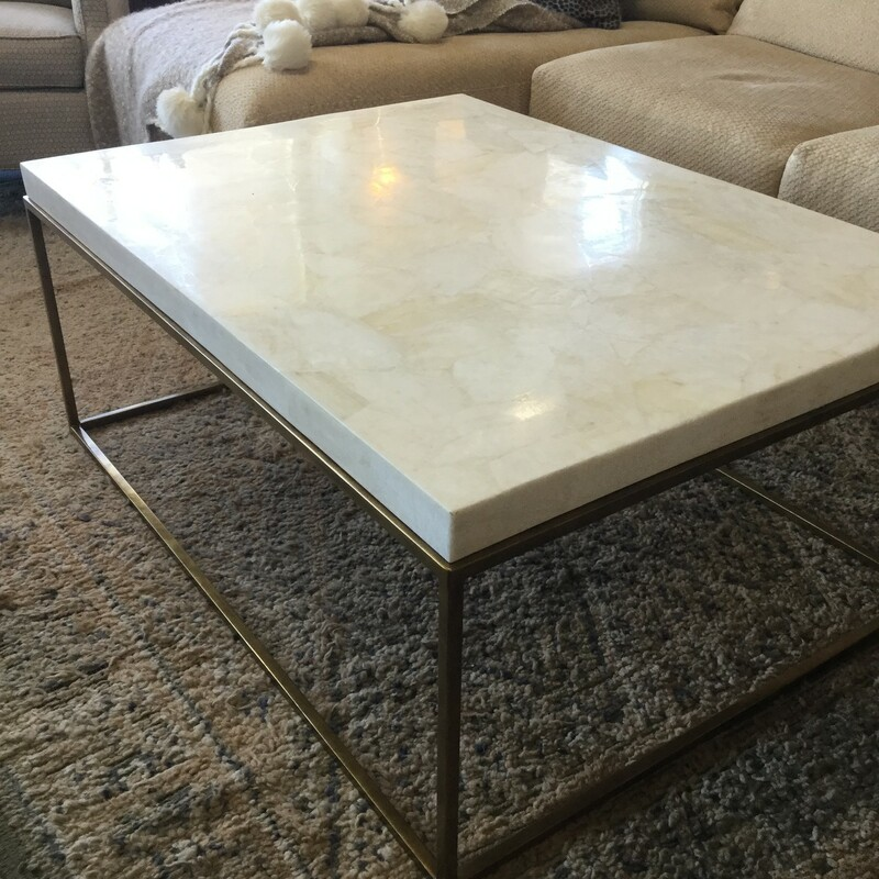 "Stone Top Coffee Table, Brass Legs, White Stone Top, Size: 42""X31""X17"""