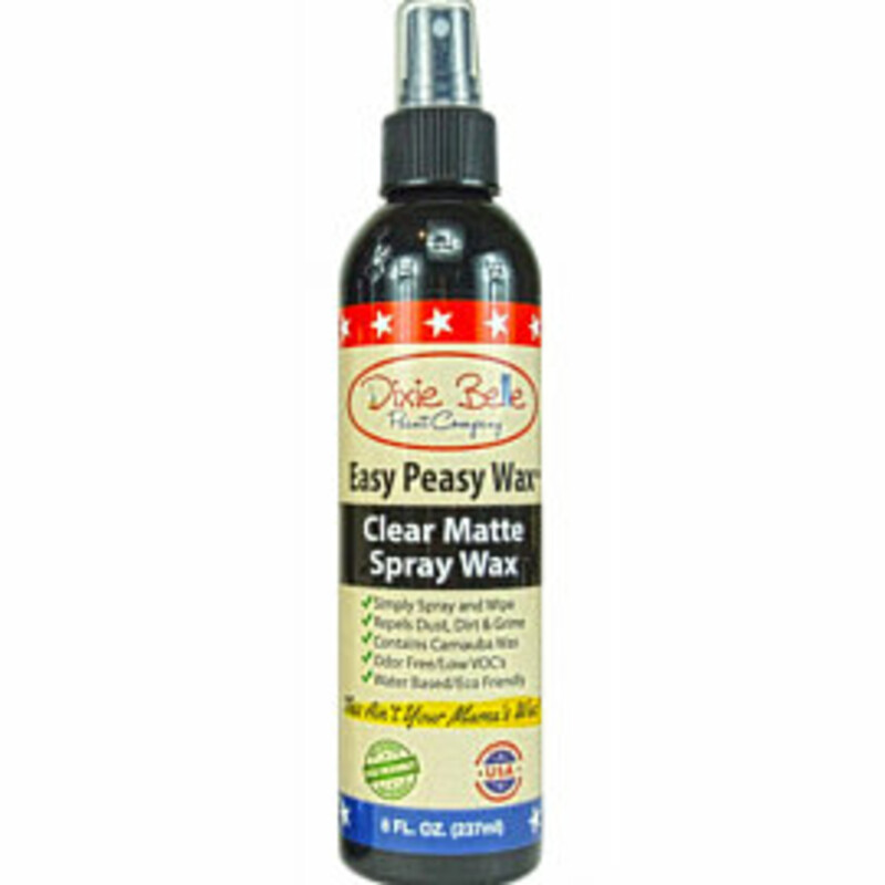 Easy Peasy! Just spray; let it sit for 10-15 seconds then wipe! Provides long lasting protection.  Comes in a 8oz Spray container.<br /> <br /> It is specially formulated to provide a durable finish which repels dust; dirt; grime and water. Can be used on outdoor furnishings; Easy Peasy will not melt or become tacky.<br /> <br /> This creates a Clear Matte Finish.