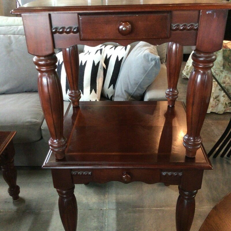 "Set Of 2 End Table, Cherry, Rope Trim<br /> 28"" wide x 26"" deep x 25"" tall"