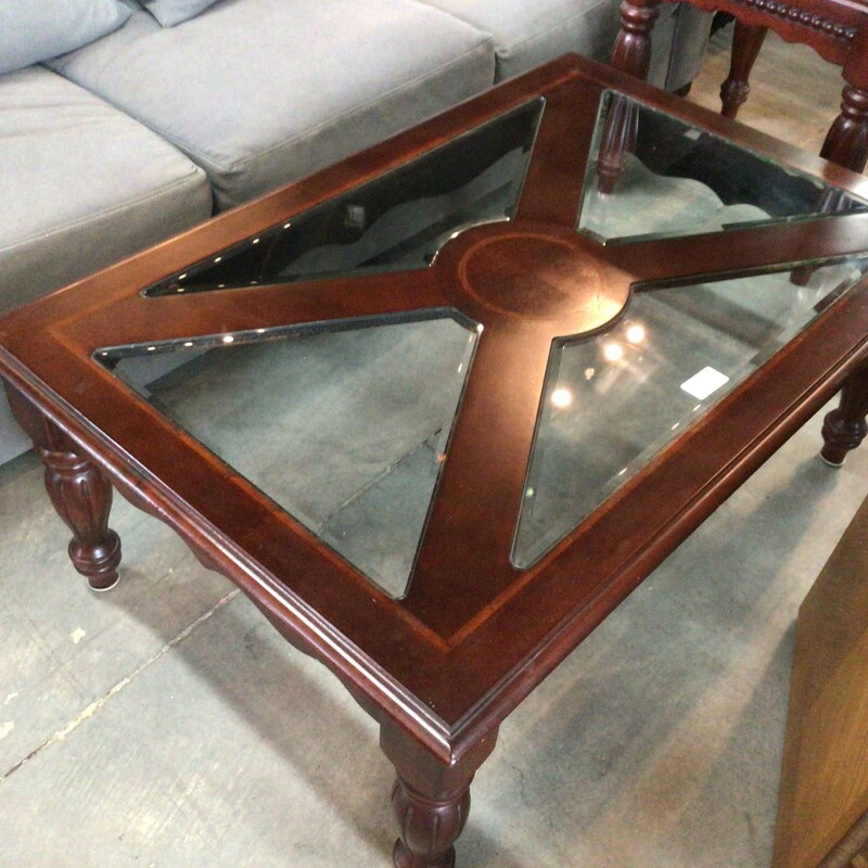 "Coffee Table W/ Glass, Cherry, W/ Glass<br /> 48"" x 32"" x 19"" tall"