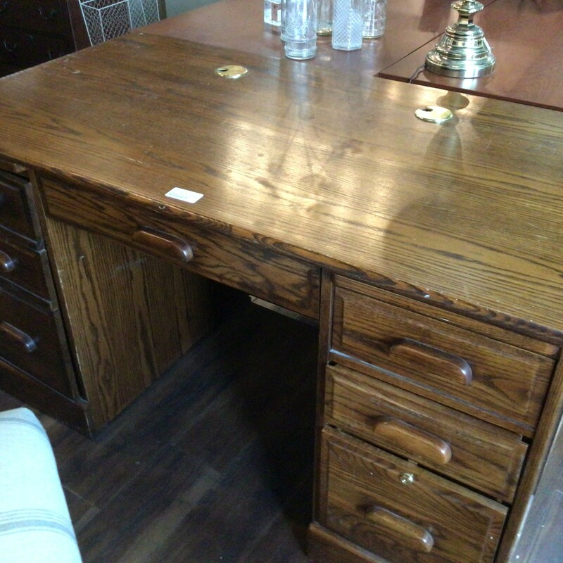 "Oak Desk W/ Key, Oak, 4 Drawers<br /> 54"" wide x 29"" deep x 30"" tall"