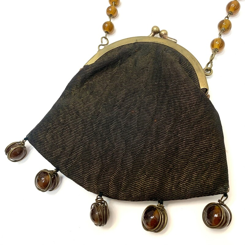 "Wire Bead Crossbody<br /> Metallic Silk lamé<br /> Brass link strap<br /> Vintage Boho-style<br /> Amber glass beads<br /> Body: 4.25"" x 5""<br /> Strap: 28"""