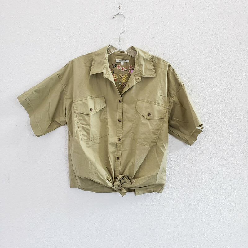 Madewell<br /> Khaki Shirt with Embroidery on Back<br /> Size: Medium