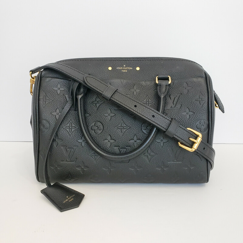 LOUIS VUITTON<br /> Empreinte Speedy Bandoulière 25<br /> Black Embossed with Gold Hardware<br /> Comes with Long Strap<br /> Retail $3,050
