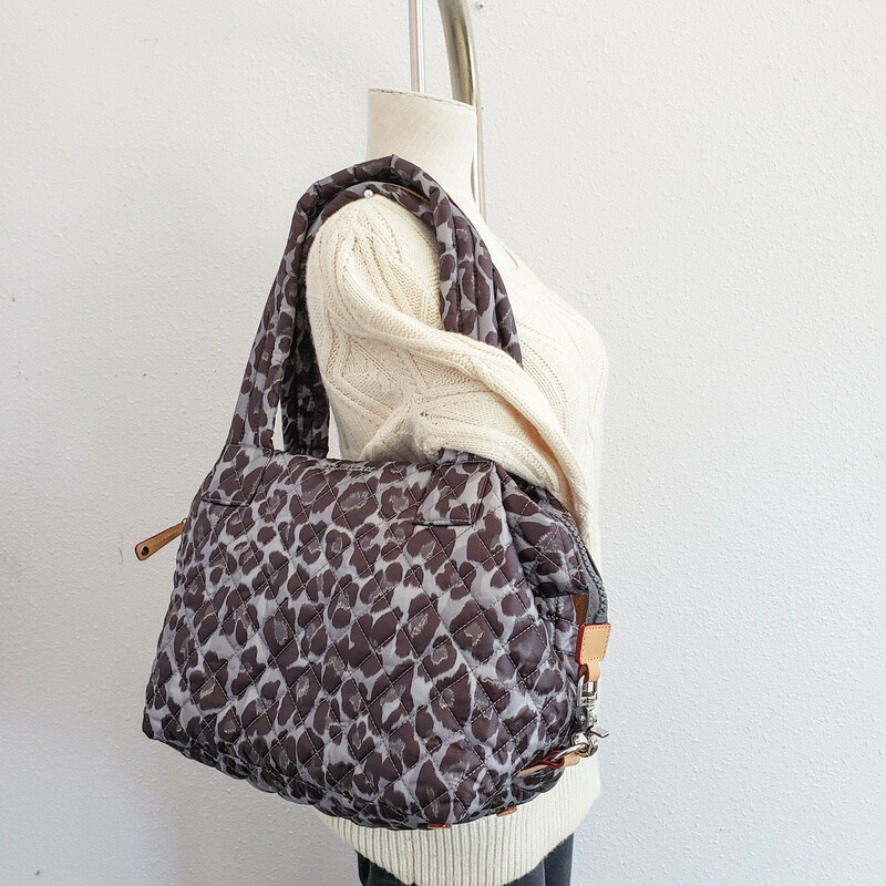 MZ Wallace<br /> Quilted Gray Leopard Shoulder Bag<br /> With Silver Hardware
