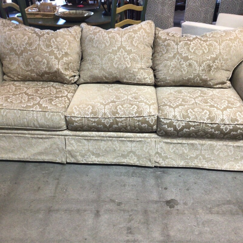 "Cream Floral Sofa, Cream, W/ Pillows<br /> 99"" wide"