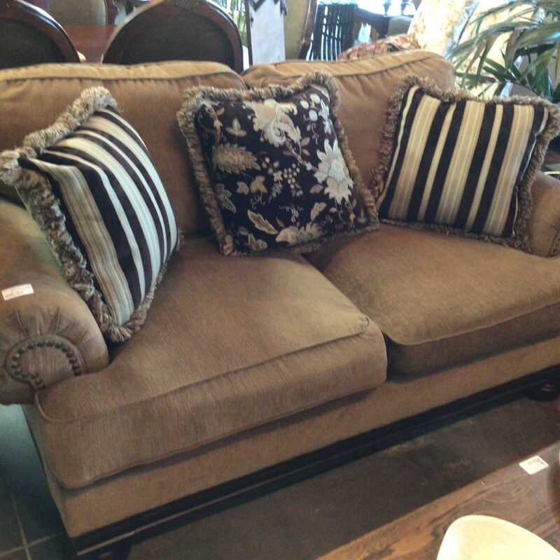"Brown Nailhead Loveseat, Brown, W/ Pillows<br /> 72"" wide"