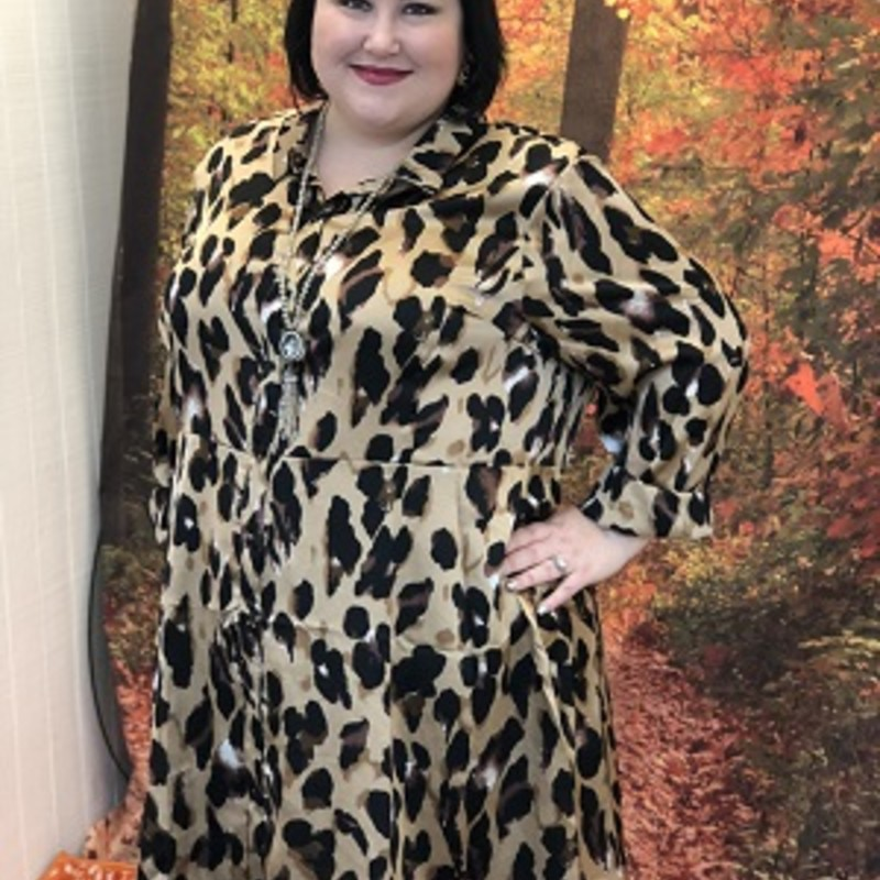 Purchase one of our new arrived Leopard Shirt Dresses, they are stunning. You can wear this with a brown or black bootie and look amazing. The material is made of 100% Polyester with a length of 37.5in.