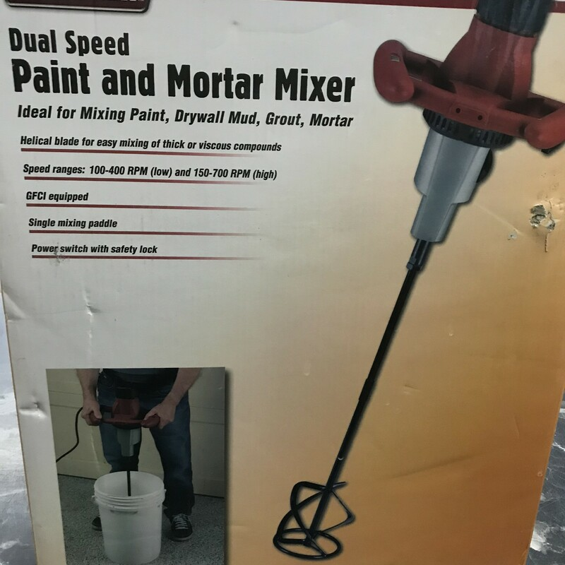 Paint / Morter Mixer, Krause & Decker<br /> Excellent condition, used one time<br /> This Dual Speed Paint and Mortar Mixer has variable speed ranges for working with a wide variety of materials. The mixer high-power motor and comes with a helical blade that's capable of handling paint, drywall mud, grout and mortar. The mixer is also equipped with a ground fault circuit interrupter to ensure safe use with liquids.<br /> <br /> Helical blade for easy mixing of thick or viscous compounds<br /> GFCI equipped<br /> Power switch with safety lock