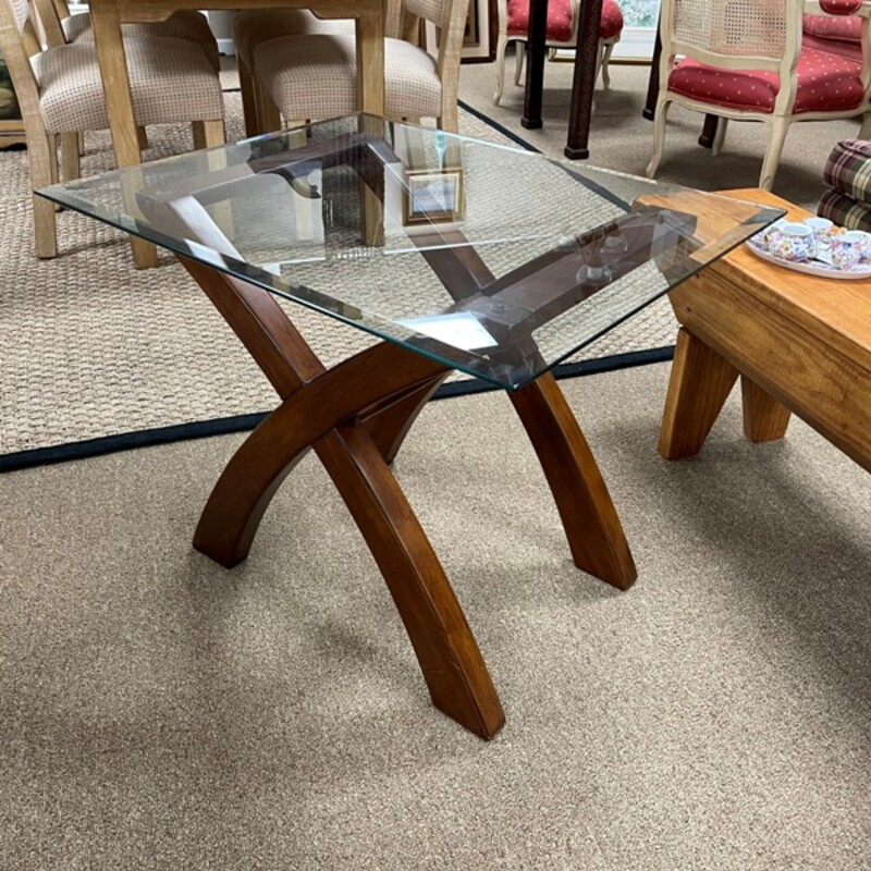 Glass Top Wood End Table.
