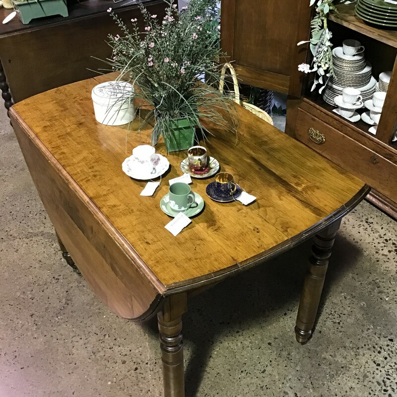 "This is the nicest antique drop leaf dining table that we have had in the store in 6 years (and we have had ALOT!)  These tables are so versatile especially if you don't have a large room and just need to open it during a party or for a dinner.<br /> <br /> Dimensions:  42""W x 24(54)""D x 30""H"