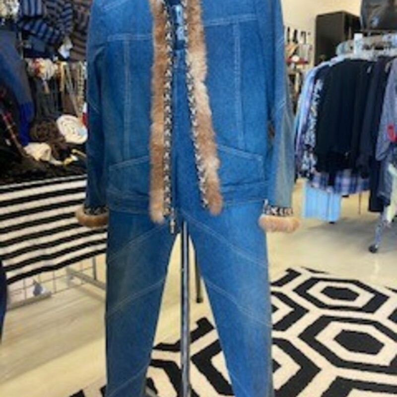 St. John: 2 piece denim set with fur in front.  Clean lines and beautiful style.  Size 2.