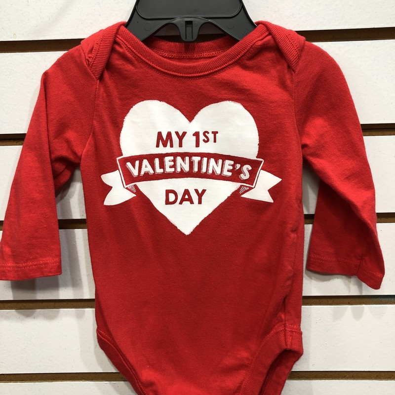 1st Valentines Day, Red, Size: 0/3M