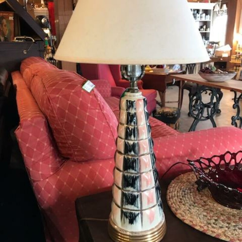 "Mid Century Lamp<br /> Size - 6"" at base - tapers to 15"" tall plus shade<br /> Soft pink and black design - This is the real thing !"