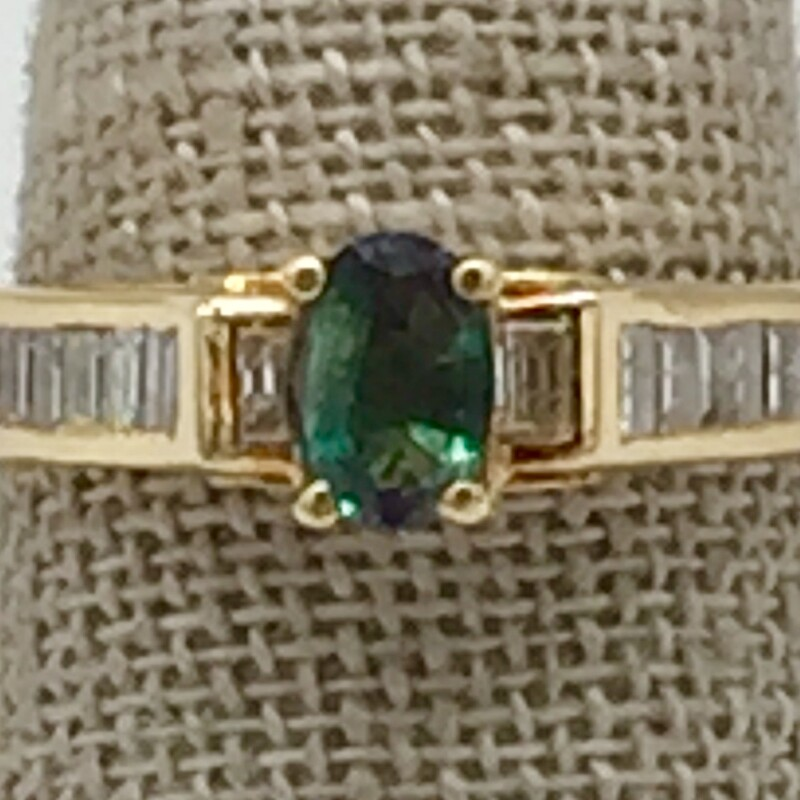 14KT YELLOW GOLD<br /> WEIGHT 3.3DWT<br /> FINGER SIZE 8<br /> <br /> OVAL GREEN TOURMALINE CENTER WITH BAGUETTE CHANNEL SET DIAMONDS APX. 1/2 CTTW.<br /> <br /> <br /> <br /> <br /> 14kt Oval Grn Tourm Bags, None, Size: KHH