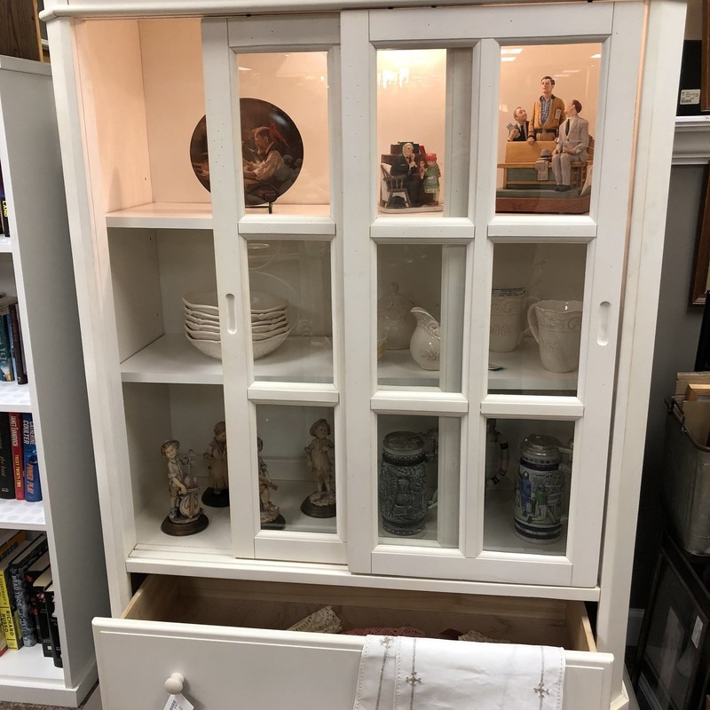 Farmstyle lighted hutch sliding pane doors and bottom drawers