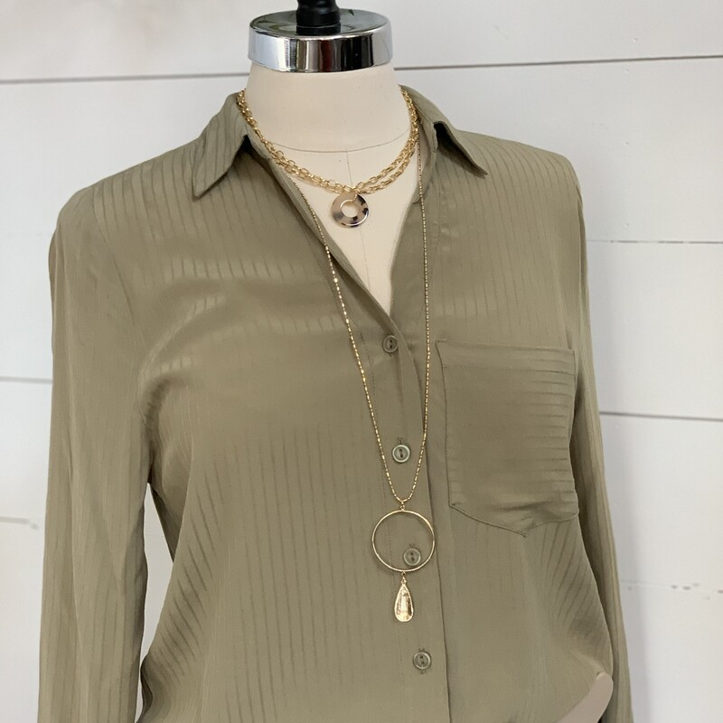 Olive button down shirt. Great for layering. also comes in cream