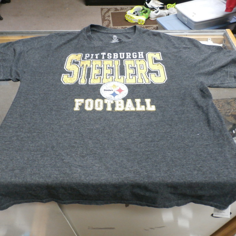 "Pittsburgh Steelers Delta Apparel Men's Short Sleeve Shirt Size XL Gray #25879<br /> Rating: (see below) 4 - Fair Condition<br /> Team: Pittsburgh Steelers<br /> Player: N/A<br /> Brand: Delta Apparel<br /> Size: XL - Men's(Measured Flat: Across chest 23"", length 30"")<br /> Measured flat: armpit to armpit; top of shoulder to the hem<br /> Color: Gray<br /> Style: Short sleeve shirt; screen pressed shirt<br /> Material: 50% Polyester 50% Cotton<br /> Condition: 4 - Fair Condition - wrinkled; faded and discolored; significant pilling and fuzz; feels coarse; logos has some cracks; normal signs of wear; no stains rips or holes<br /> Item #: 25879<br /> Shipping: FREE"