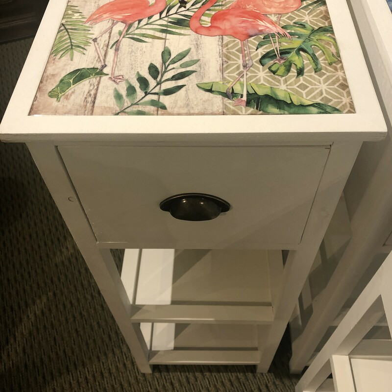 Whitewashed Accent Table Flamingo, New, Size: 35h 13d/w<br /> Charming White-Washed Furniture Accessory with a Colorful Ceramic Tile Top,Tall End Table or Accent Table Made of Wood with Two Shelves and a Drawer, A Functional Decoration for a Beach Cottage with the Image of a Flamingo on Tile Top