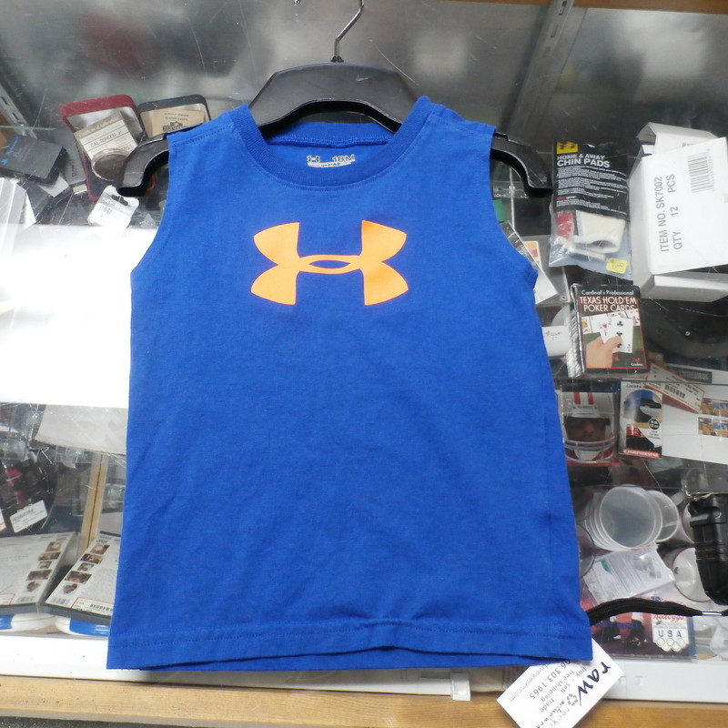 Under Armour YOUTH tank top blue size 18 Months #26072<br /> Rating: (see below) 2- Great Condition<br /> Team: n/a<br /> Player: n/a<br /> Brand: Under Armour<br /> Size: YOUTH Boy&#039;s 18 Months (Measured Flat: chest 11&quot;, length 14&quot;)<br /> Color: blue and orange<br /> Style: sleeveless; screen printed<br /> Material: tag missing<br /> Condition: 2- Great Condition; wrinkled; material is stretched and worn from wearing and washing; some pilling and fuzz; some fading and discoloration; no rips or tears; no stains; screen printing has some cracks (see photos)<br /> Item #: 26072<br /> Shipping: FREE