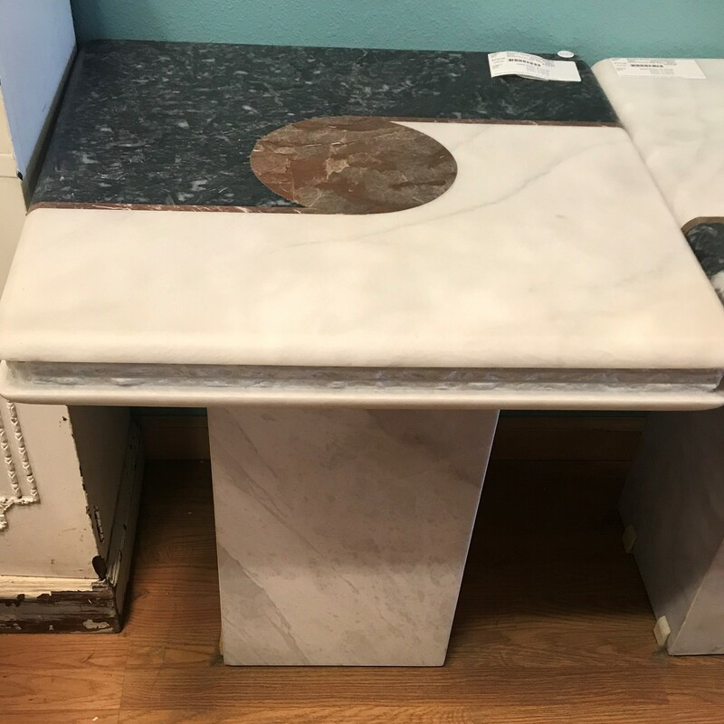 "Marble/Granite Side Table, Wht/grn, Modern<br /> Top 24"" x 23\"" x 25\""  (l/w/h)<br /> Base: 12\"" x 12\"""