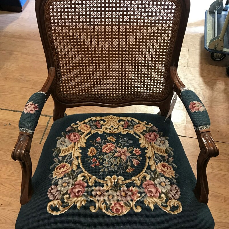 "Needlepoint Victorian, Antique, Armchair<br /> Size: 36"" x 25"" x 20"""