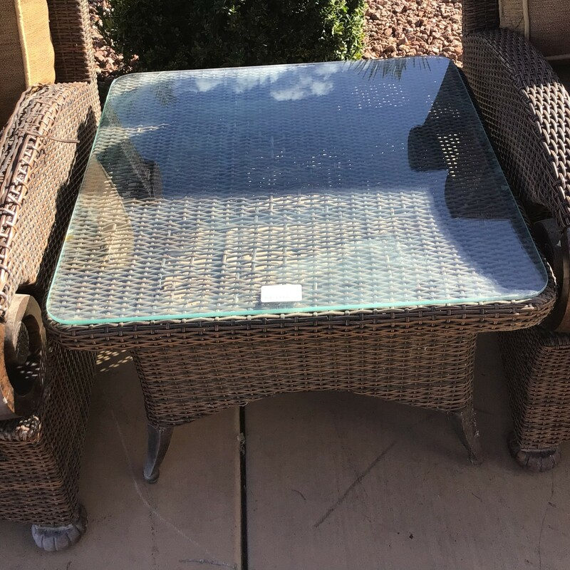 "Wicker End Table, Wicker, W/ Glass<br /> 29"" wide x 29\"" deep x 20\"" tall"