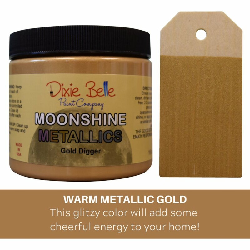 Moonshine Metallic chalk mineral paint is a one step; rich and shiny metallic with beautiful pigments. Available in 16 oz.