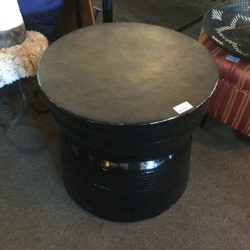 "Lacquered Ceramic Table, Dk Blue, Gray<br /> 26"" wide x 24\""tall"
