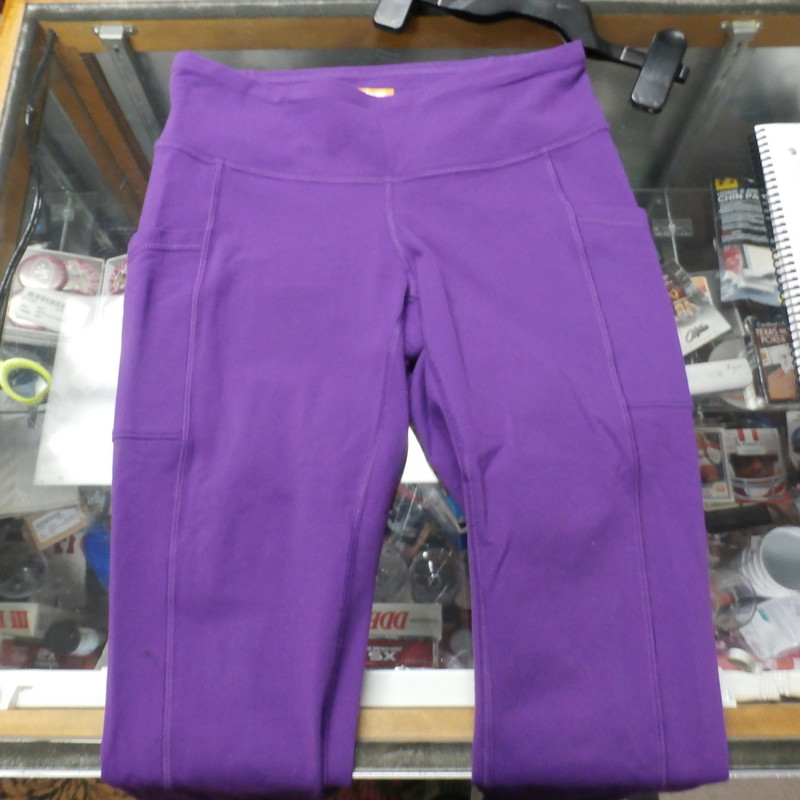 "Lucy Powermax pants purple size small nylon/spandex blend #25728<br /> Rating: (see below) 3- Good Condition<br /> Team: n/a<br /> Player: n/a<br /> Brand: Lucy<br /> Size: Women's Small-  (Measured Flat: Waist 13""; Length 26""; Inseam 19"")<br /> Measured flat: hip to hip; hip to hem; and groin to hem<br /> Color: purple<br /> Style: athetic pants; elastic waistband; pockets<br /> Material: 87% nylon 13% spandex<br /> Condition: 3- Good Condition; wrinkled; some pilling and fuzz; material is stretched and worn from wearing and washing; some discoloration and fading; no rips or tears; small ink stain on middle of right leg (see photos)<br /> Item #:25728<br /> Shipping: FREE"
