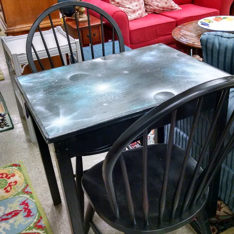 Roe Designed Table &amp; 2 Ethan Allen Chairs<br /> 31w x 31h x 23d