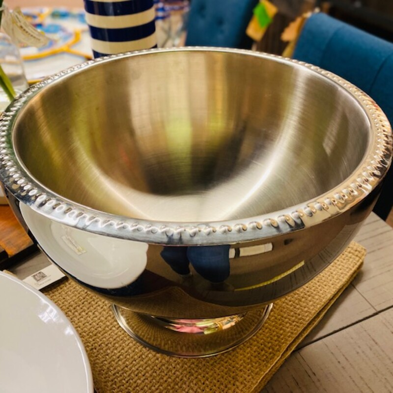Large Footed Metal Bowl.