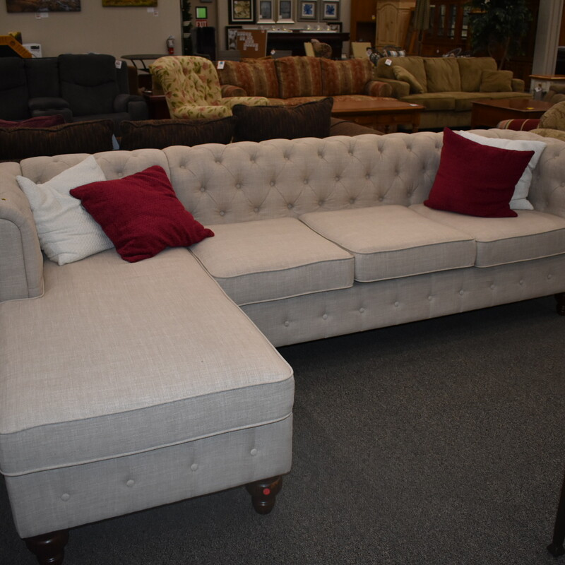 2 Pc Sectional White Tuffted