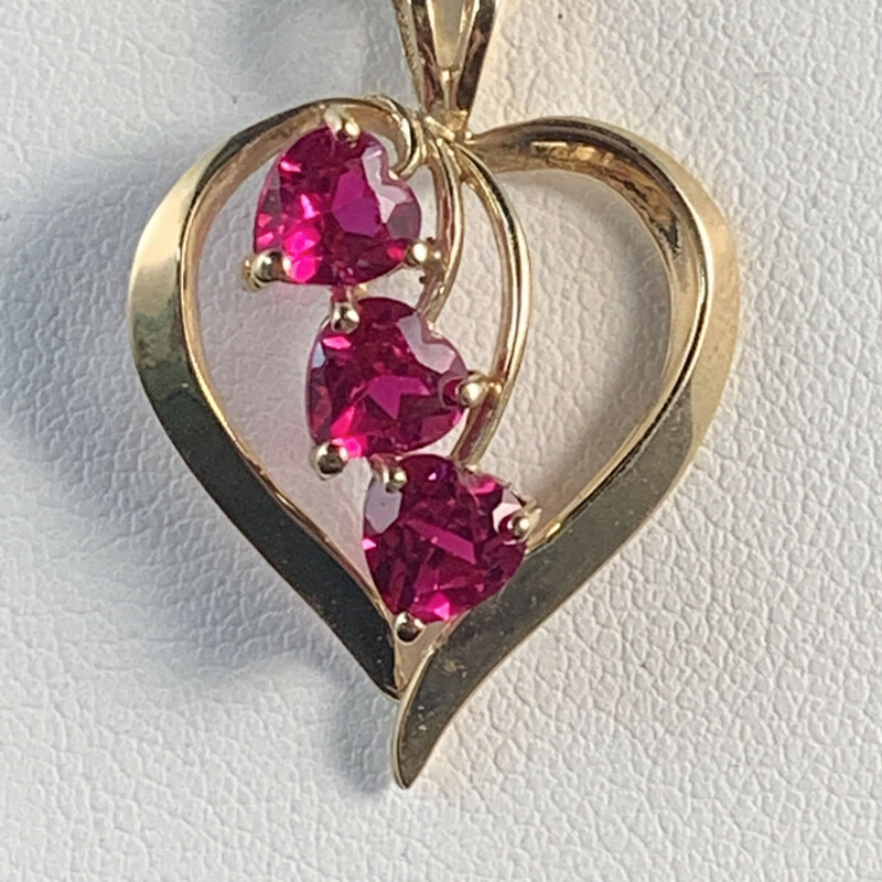 "Heart Pendant with 3 Heartshape Created Rubies<br /> *New 18"" Rope Pendant Chain with Spring Ring Clasp<br /> 10 Karat Yellow Gold"