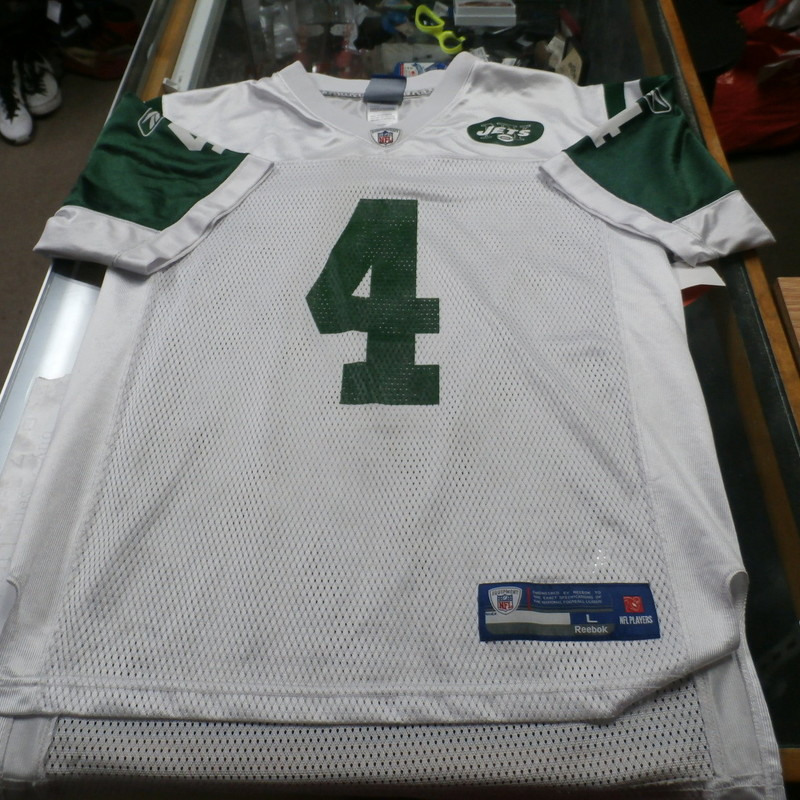 "New York Jets Brett Favre #4 YOUTH Reebok Jersey Size L(14-16) White #293<br /> Rating: (see below) 3 -  Good Condition<br /> Team: New York Jets<br /> Player: Brett Farve<br /> Brand: Reebok<br /> Size: YOUTH - Large(14/16) (Measured Flat: Across Chest: 19""; Length 25"")<br /> Measured Flat: armpit to armpit; top of shoulder to bottom hem.<br /> Color: White<br /> Style: screen pressed on field jersey<br /> Material: 100% Polyester<br /> Condition: 3 - Good Condition - wrinkled; material looks and feels good; some snags; snag of the seam below the collar; stain on the left side of the collar; logos look great; no rips or holes<br /> Item #: 293<br /> Shipping: $3.94"