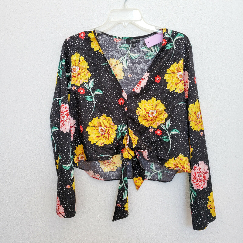 Topshop<br /> Black with Floral Print<br />  Size: 6