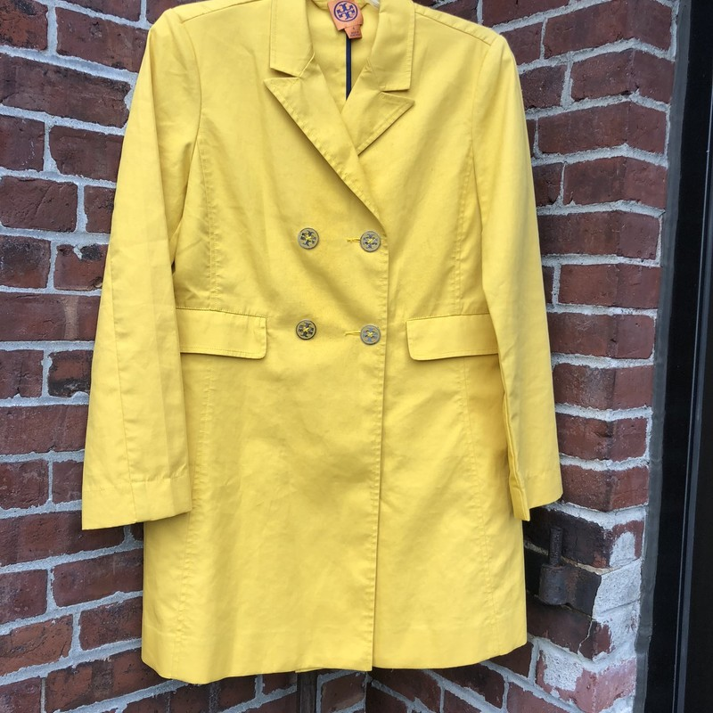 Tory Burch Yellow Jacket, Yellow, Size: 8<br /> very good condition. Brand tag is loose on one side.