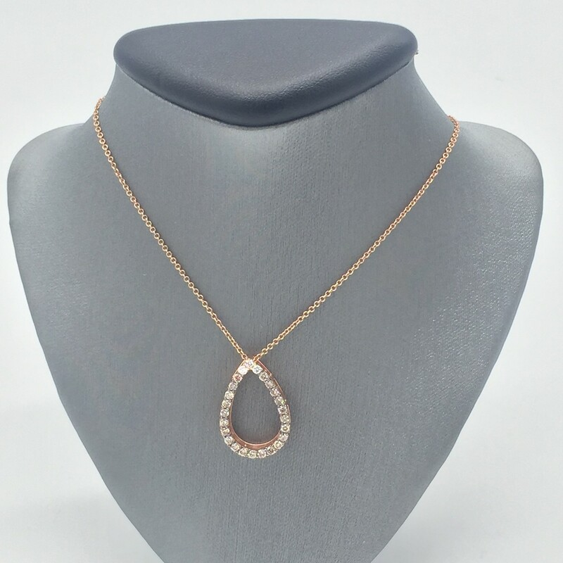 "14KT ROSE GOLD<br /> WEIGHT 2.0DWT<br /> DIAMONDS 1/2CTTW ROUND PAVE<br /> TEAR DROP SHAPE PENDANT ON 18"" ROSE GOLD CHAIN.<br /> <br /> <br /> <br /> 14kt RG 1/2tw Teardrop, ROSE, Size: CHK"