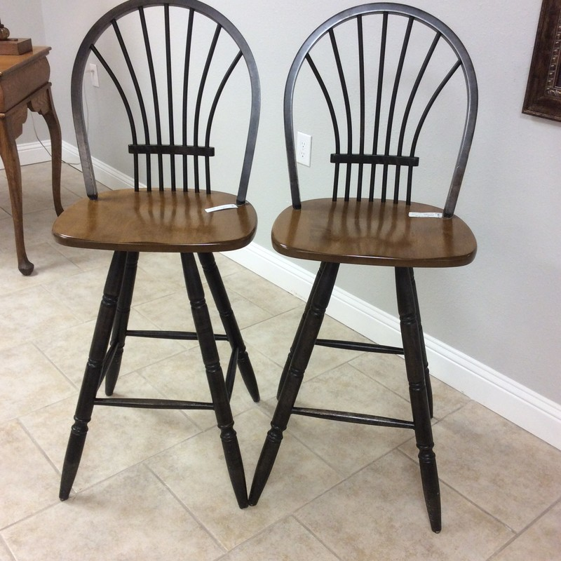 "This is a very nice pair of barstools! The legs and the backs have been painted black with distressing to give  that weathered look. They sit at 30"" in height and swivel. Come take a look!"