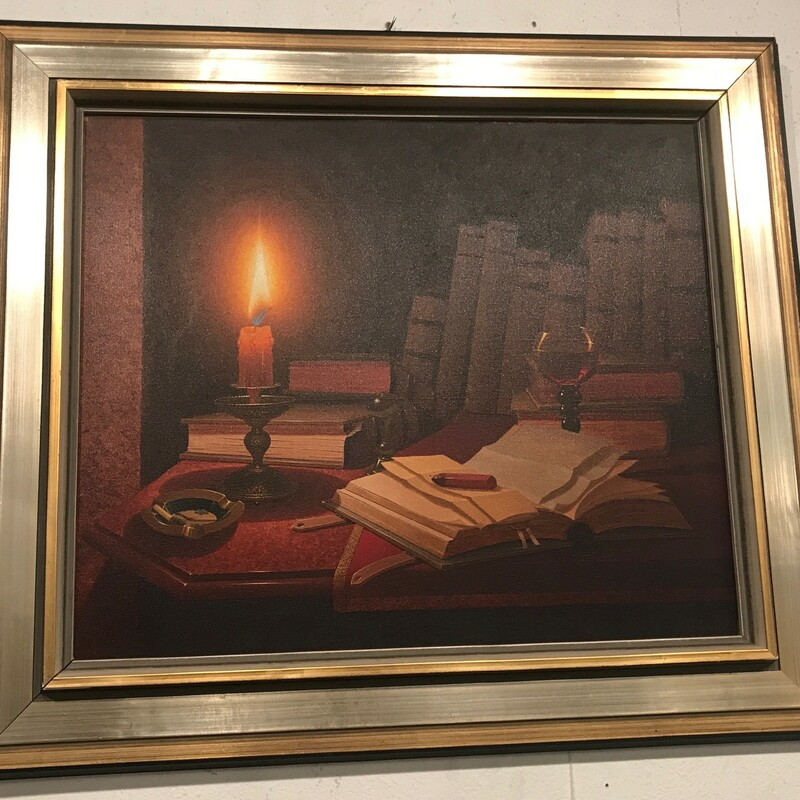 "Moritz Rusche Still Life, Candle, Framed<br /> Size:  30"" x 27"""