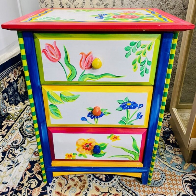 Floral Painted Nightstand.