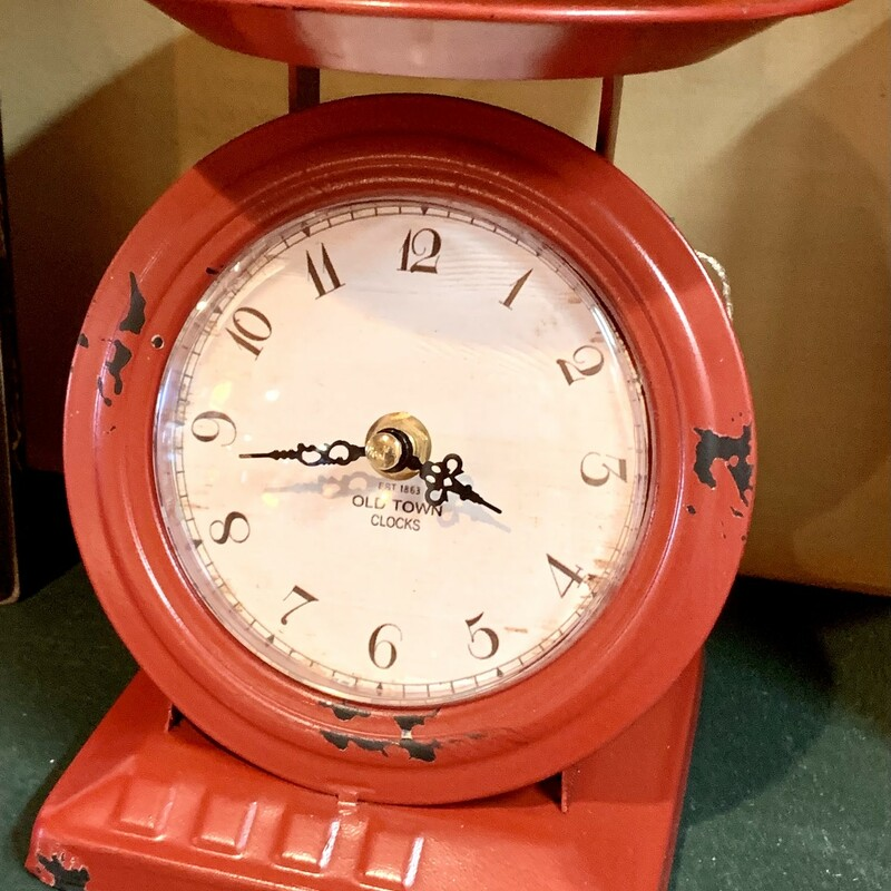 Red Old Time Scale Clock.