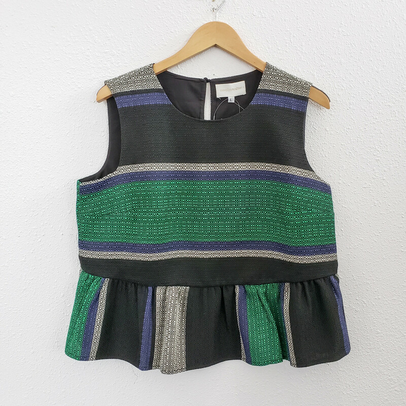 Corey Lynn Calter<br /> Black with Green and Blue Stripes<br /> Size: L<br /> NWT<br /> Original Retail $150