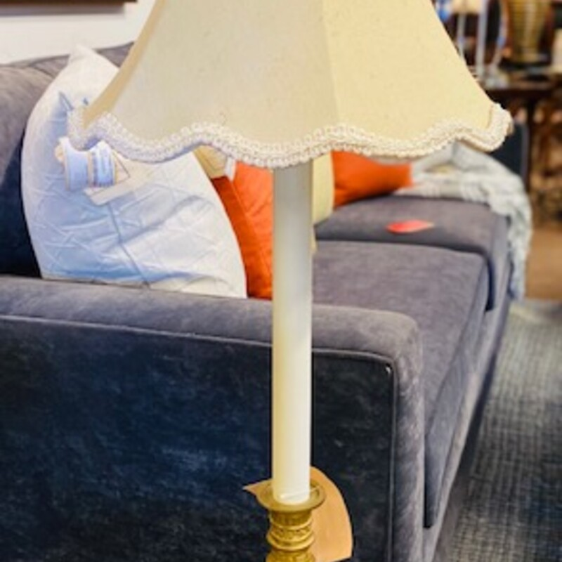 Antique Brass Marble Lamp.
