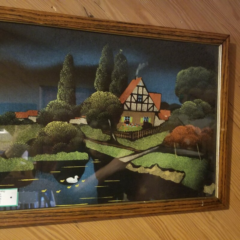 "Antique Velvet Picture of English Cottage<br /> with Pond - $48.50. Size is 22"" X 14.5"""