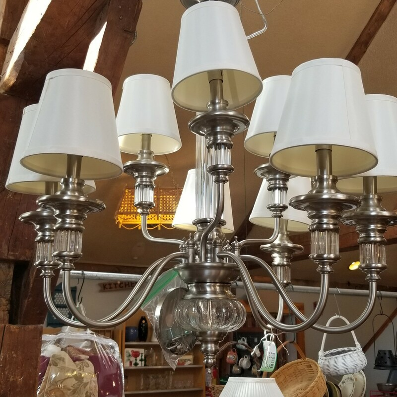 Silver/Glass Hardwired Ceiling Lamp<br /> $86.50