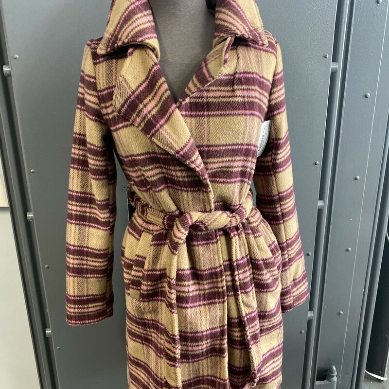 Plaid Jacket W Belt.