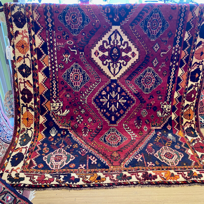 Antique Handmade Persian Shiraz<br /> Size: 5.2x8.5